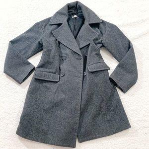 Garnet hill gray wool pea coat parka jacket